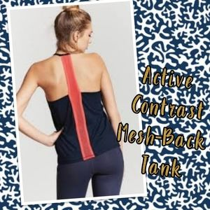 Active Contrast Mesh-Back Tank Top
